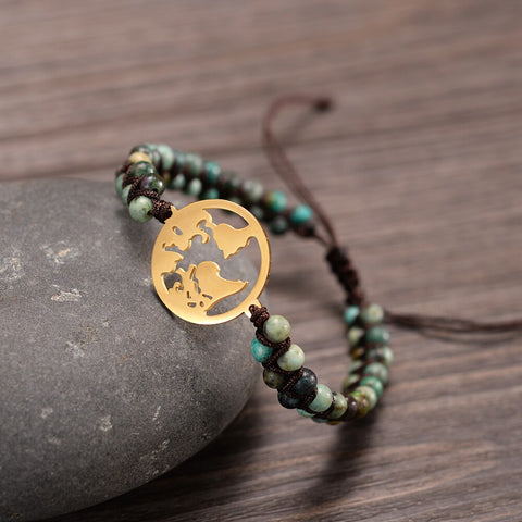 Beautiful Earth - Coin Charm Double Braided Beads - Hand Made Bracelet