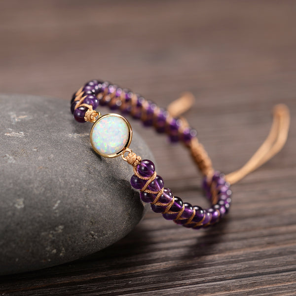 FoxGlove And Moon stone - Double Braided Beads Bracelet