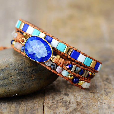 Ocean Blue Charm Bohemian Multilayered Wrap Bracelet
