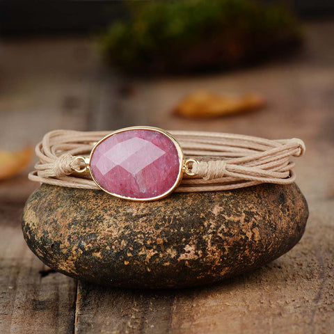 Rhodonite Charm Vegan Rope Wrap Bracelet