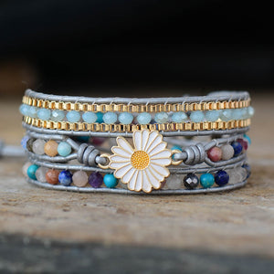 Sunflower Charm Multilayered Boho Wrap Bracelet