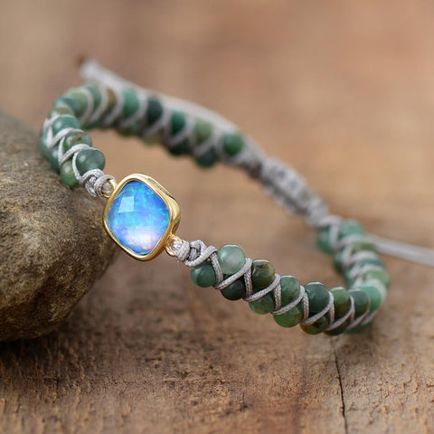 Moon Magic - Opal Charm Braided Beads Bracelet