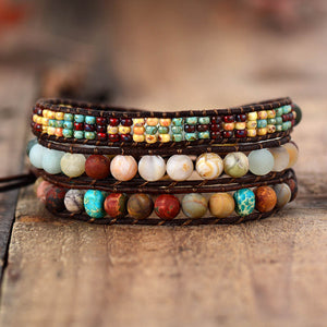 Frosted Stone Beads Multi Layered Bohemian Vintage Wrap Bracelet