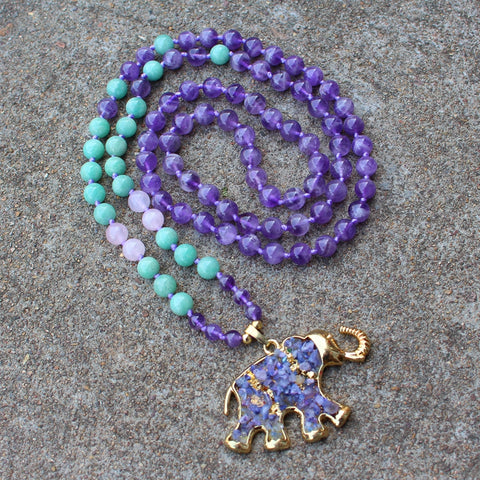 Boho Elephant Charm Long Beaded Necklace