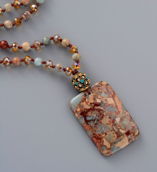 Ancient Stones Boho Beaded Pendant  Necklace