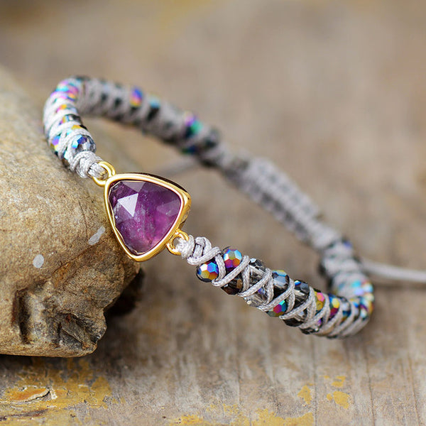 Morning Glory - Cute Amethyst Charm Braided Beads Bracelet