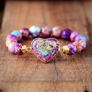 Purple Haze - Heart Charm Royal Imperial Jasper Luxury Stretch Bracelet
