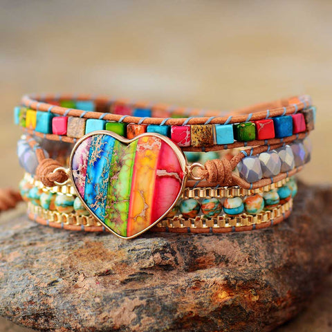 RainBow Heart Stone Boho Leather Wrap Bracelet