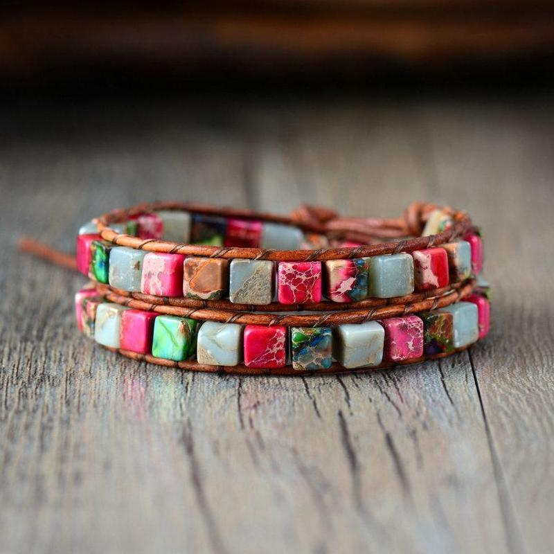 Woven Cube Beaded Bracelet - Mix Natural Stone - Leather Wrap Bracelet