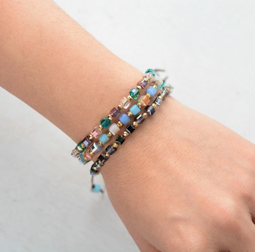 Crystals with Gold -  Friend Ship Stacking Bracelets