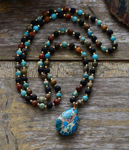 Beauty of the whales - long Necklace - Labradorite , Onyx and Amazonite Stone Beads