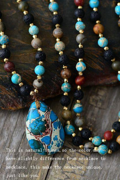 Ocean whales long Necklace - Labradorite , Onyx and Amazonite Stone Beads