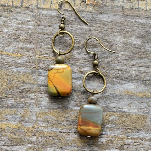 Vintage Semi Precious Beads Dangle Earrings