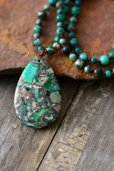 Jungle Tribe -Earth Green Necklace - Jasper Beads
