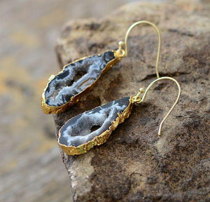 Natural Jasper Druzy Stone Earrings - Gold or Silver