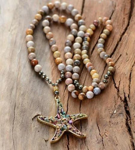 Beach - Boho Starfish Necklace - Pyrite stones - Beaded Necklace - Bohemian Jewelry