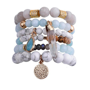 Treasure Exquisite Bar Bracelet Set  (6pcs/Set) - Natural Agate Stone, Glass Beads