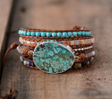 Handmade Leather gilded azure wrap bracelet - Natural Ocean Jasper Beaded