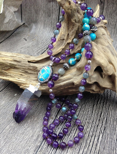 Amethyst Crystal & Turquoise Stone  - Boho Chic Beaded Necklace
