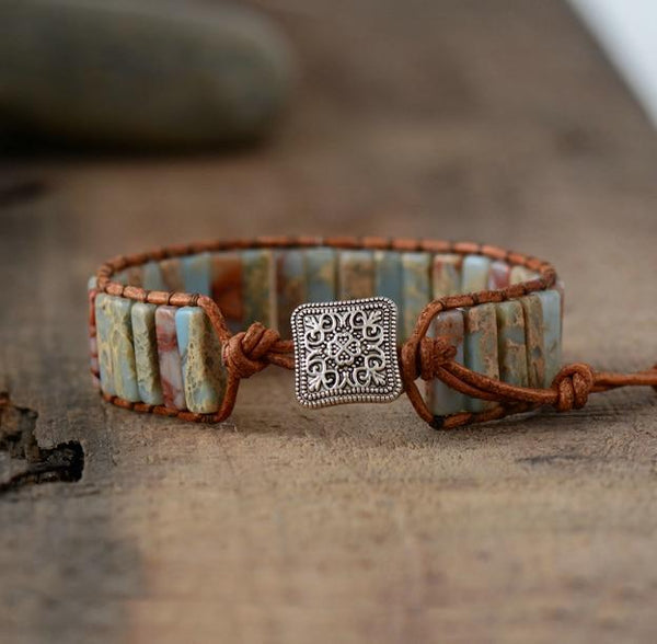 Earth Beauty - Jasper stone leather wrap bracelet