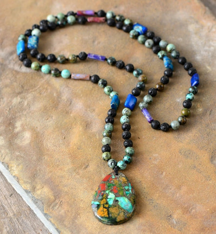 Natural Stone Mix Tear Drop Boho Beaded Necklace