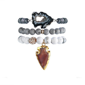 Treasure Grey Druzy Stone Bracelet Set with Brown Arrow Head Charm Pendant