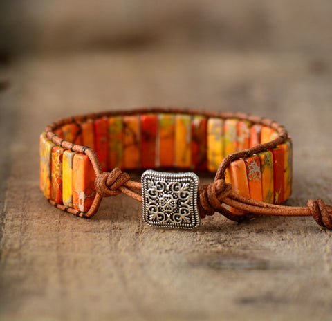 Sun Stones - Natural Stones Single Leather Wrap Bracelet