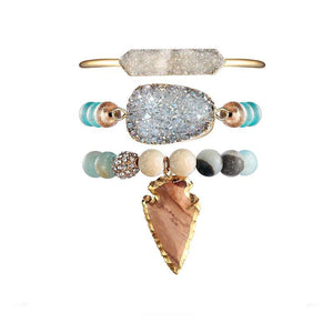 Treasure Druzy Leaf Pendant  Turquoise & Amazonite Beaded Bracelet