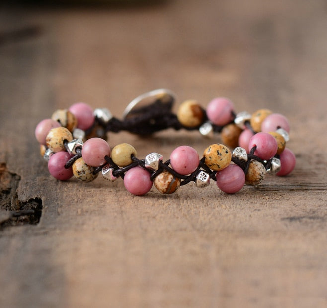 Fall Mixed Stones - Bohemian Cord Braided Bracelet