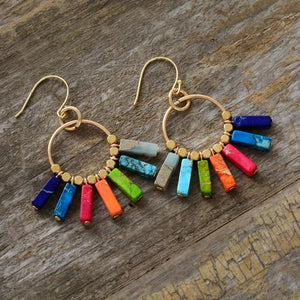 RainBow Earrings - jasper stone ,brass beads