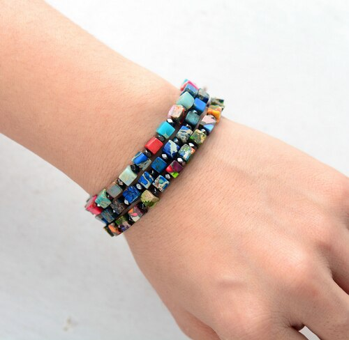Hand Made - Spring Cubes - Natural Stone Beaded Boho Stacking bracelet - Six Styles