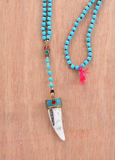 Nepal Charm Horn Tassel Necklace 6MM Natural stone Beads