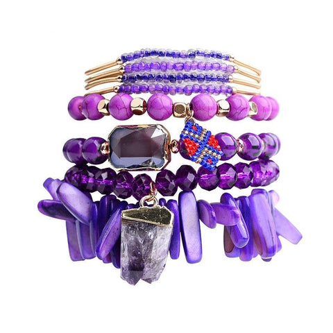 Noble Purple Bracelets Stacks - Agate Gemstone Stone Charm