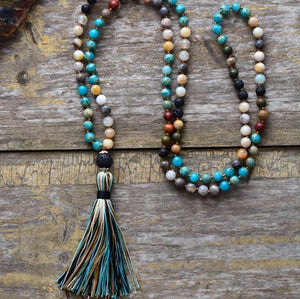 Strong Earth Connection Tassel Necklace - Natural Turquoise and Lava Rock Stones