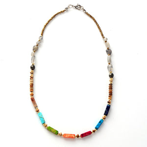 Hand Made Natural Stone Labradorite  Rainbow Choker Necklace