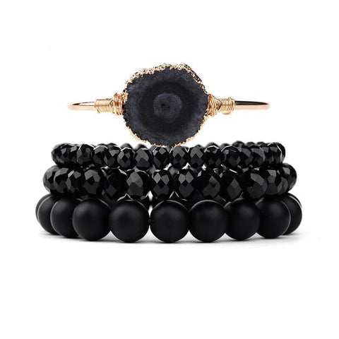 Treasure Beaded Bracelet Set Natural Black Crystal Druzy Stone