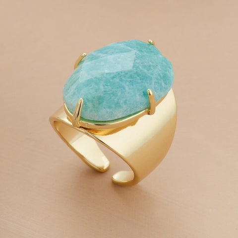 Amazon Beauty - Natural Amazonite stone - Adjustable Gemstone Boho Ring