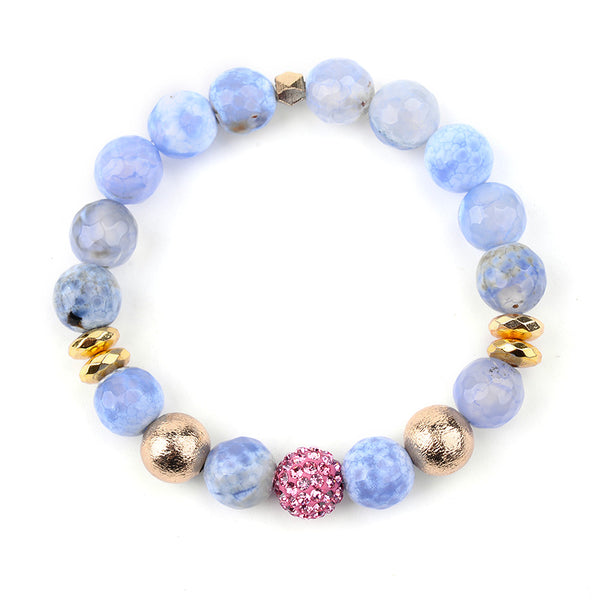 Treasure Natural Stone Big Druzy Labradorite Beads Bracelet Set
