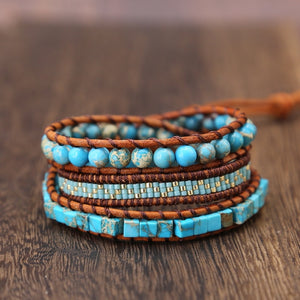 Turquoise Cubes and Leather Multi Layering Wrap Bracelet - Hand Made Bohemian Bracelets