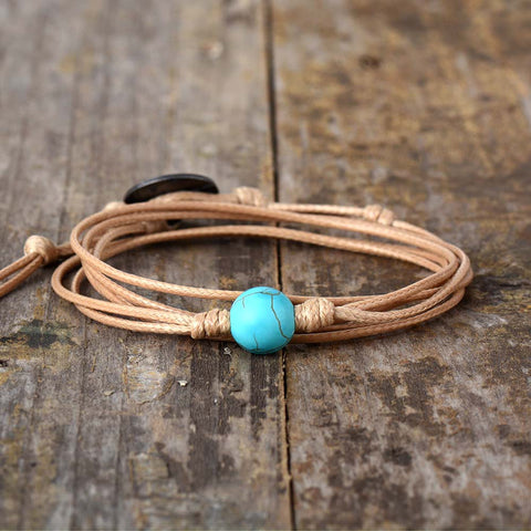 Simple Turquoise Bead - 3 Strands Wrap Bracelet
