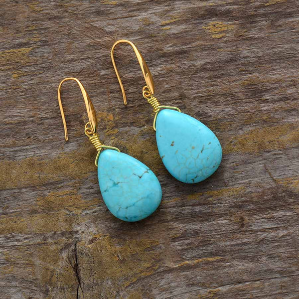 Drops from the Ocean - Turqouise Stone Drop Earrings