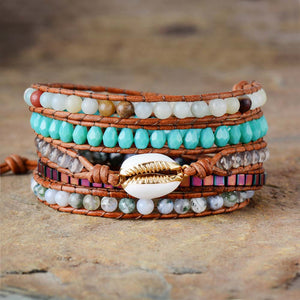 Bohemian Beauty - Shell Charm Multilayered Leather Wrap Bracelet
