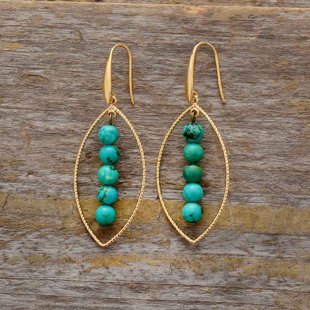 Hand Made Boho vintage Earrings - oval charming leaf and turquoises
