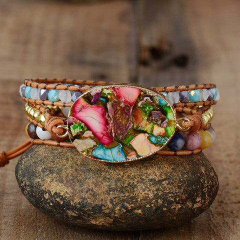 Bohemian Arts - Rhinestone leather wrap Bracelet