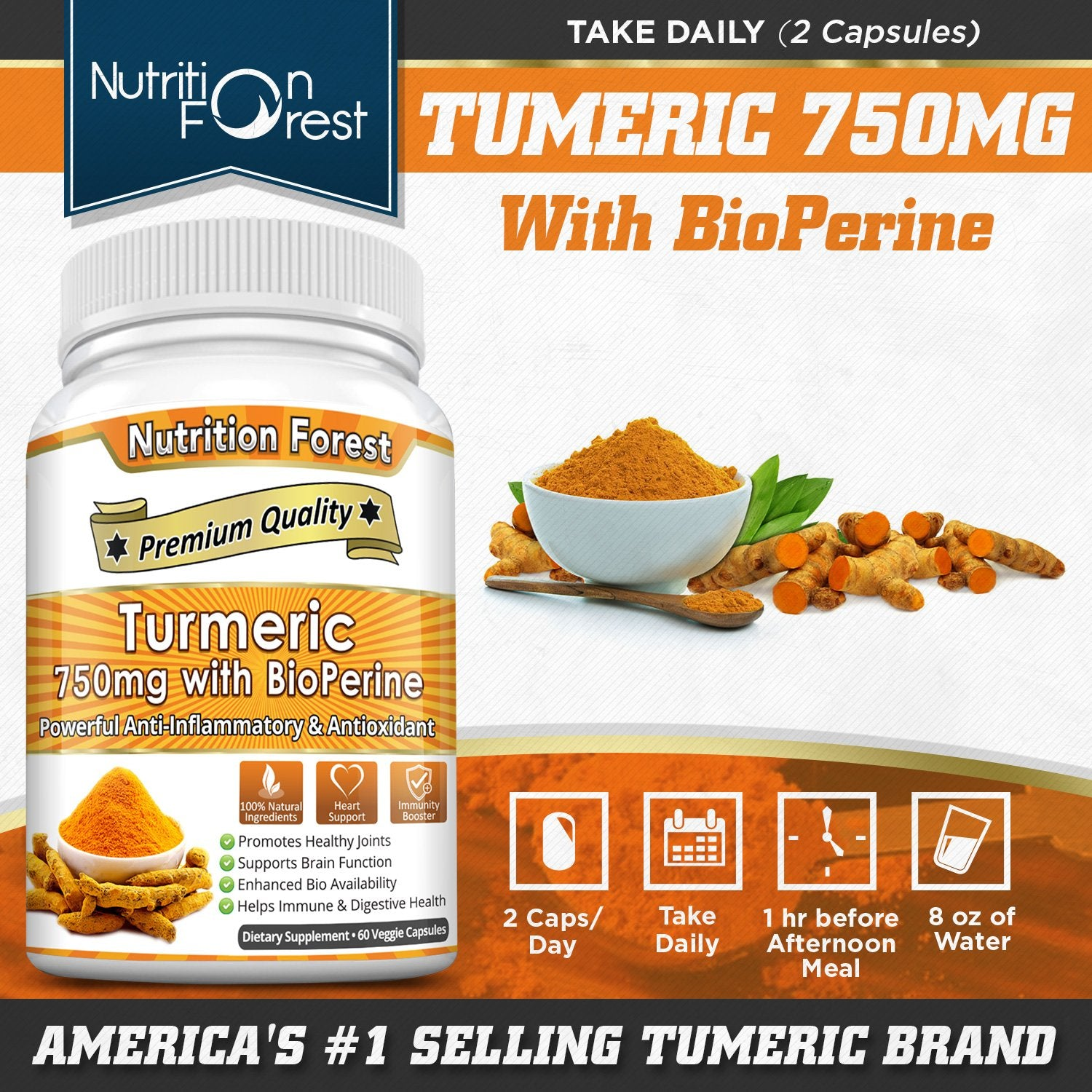 Turmeric Curcumin 750mg with BioPerine