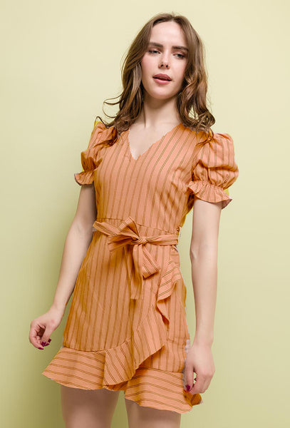 Absolème robe portefeuille Gabrielle orange