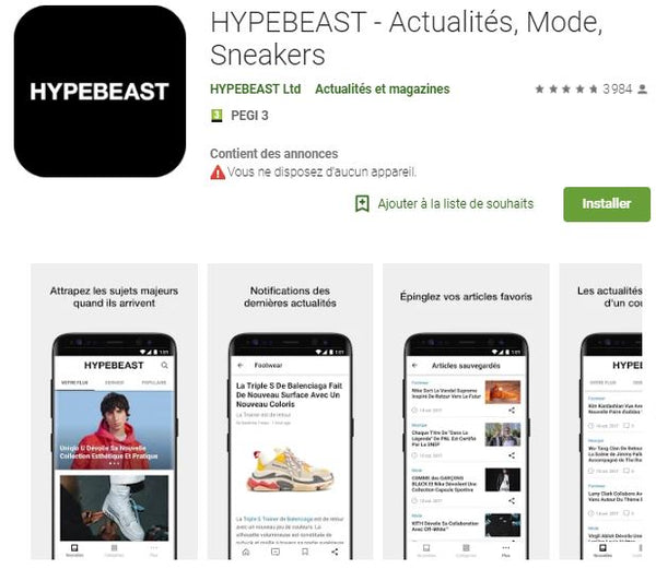 Absolème application mode Hypebeast