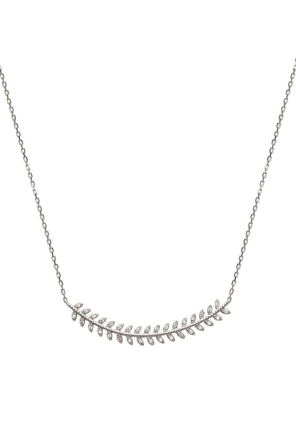 Collier laurier argent 925 zirconiums
