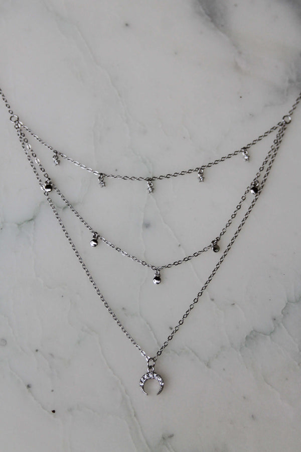 Collier 3 rangs argent 925 zirconium