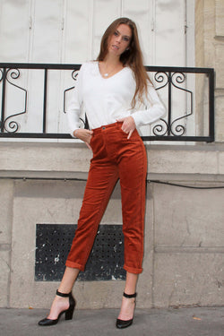 Pantalon Taille Haute en Velours Côtelé Marron Orange